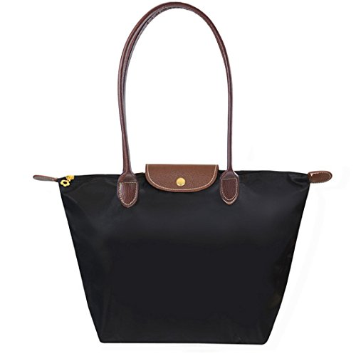 bekilole-womens-stylish-waterproof-tote-bag-nylon-travel-shoulder-beach-bags-black-color-medium-size