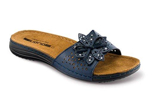 tiglio Pantofole Ciabatte Donna GLAMY 4303 Blu Plantare in Vera Pelle (38) dd625fae5fe