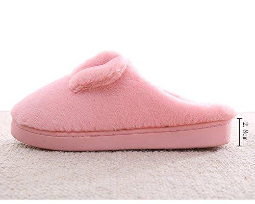 Chaussons pour Homme et Femme Peluche Motifs Animaux Pantoufles Antidérapant Couple Slipper pink