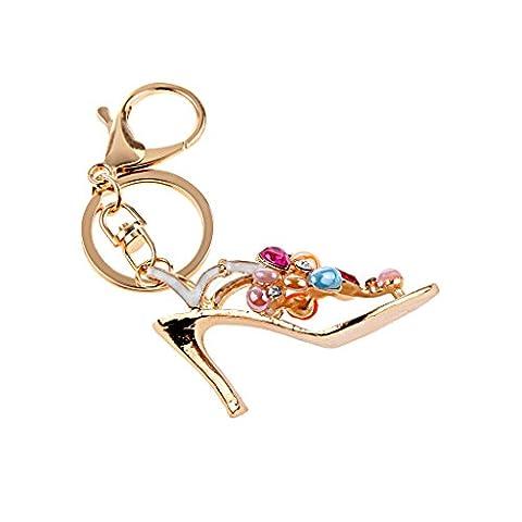 MagiDeal Charme Porte-clés Mousqueton Pendentif Strass Motif Chaussure Chaîne Clef -Coloré #1