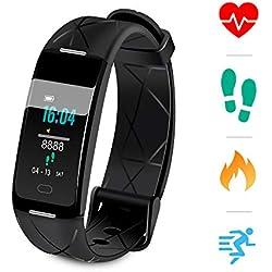 Sonkir Fitness Tracker HR, Montre d'activité avec Moniteur de fréquence Cardiaque, podomètre, 8 Modes Sportifs, Compteur de Calories, Moniteur de Veille, Bracelet Intelligent IP68 étanche pour (Noir)