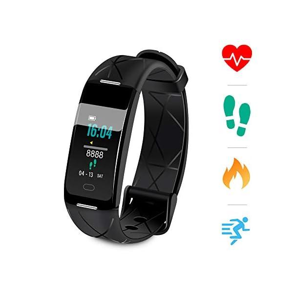 Sonkir Fitness Tracker HR, Reloj de Seguimiento de Actividad con Monitor de frecuencia cardíaca, podómetro, Contador de calorías, Monitor para Dormir, Pulsera Inteligente Resistente al Agua IP68 1