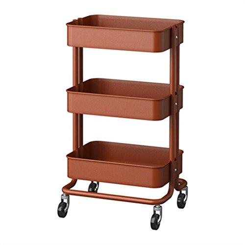 &étagère de rangement Étagère Unité Cuisine Panier Roulant Salle De Bains Rack De Stockage Panier Cart Storage Rack Métal Salon Chariot à Roulettes Rack de finition (Color : Brown)