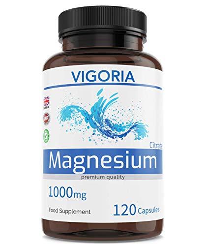 Magnesiumcitrat für Muskeln und Knochen - Trägt zur Verringerung von Müdigkeit bei - Für eine gute Nachtruhe - 1000mg 120 Kapseln - Maximale Bioverfügbarkeit - Ohne GenTechnik - Vegan - 2 Monatsvorrat -