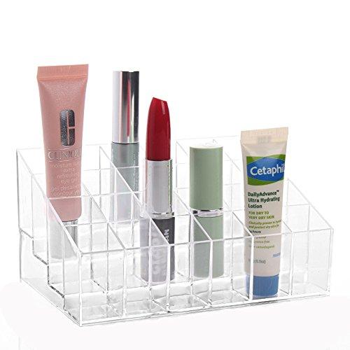 Jecxep Make-up-Organizer 24Raster 4x 6transparent Trapez Lippenstift Ständer Display Ablage Nagellack Organizer Make-up Kosmetik Halter Speicher Fällen - Speicher-slot-board