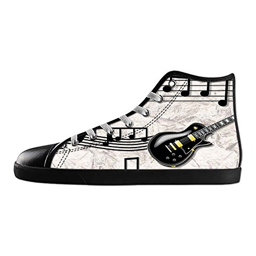 Dalliy Music Note And Guitar Men's Canvas shoes Schuhe Lace-up High-top Sneakers Segeltuchschuhe Leinwand-Schuh-Turnschuhe C