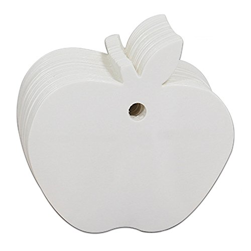 Cdet 100 Stück Tag Karte Apfel-förmige Kraftpapier leer Tag/Lesezeichen/Geschenkkarte/Schokolade Verpackungskarte/Drift Flaschenkarte Papieranhänger (Weiss)