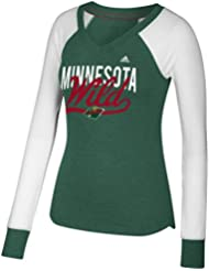 "Minnesota Wild Women's Adidas NHL ""Puck Drop"" Dual Blend Long Sleeve T-Shirt Chemise"