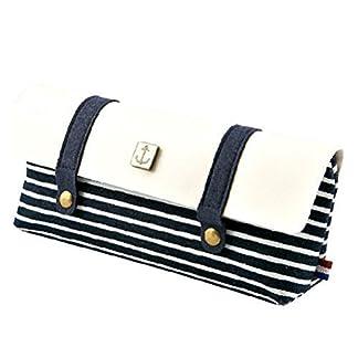 Patrón de estilo del marinero de rayas de lino retro del lápiz de la bolsa de la caja de lápiz Estudiantes (azul)