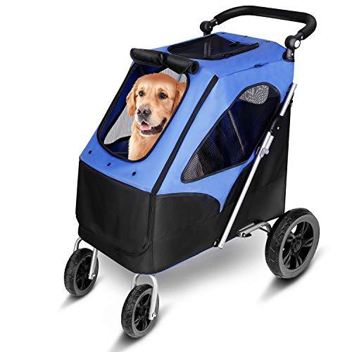 amzdeal Hundewagen, Faltbarer Hundebuggy mit 4 flexiblen Eva-Rädern und Verstellbarer Griff, Pet Stroller mit großem Laderaum bei 60 kg für mittelgroße/große Hunde und Katzen auf Reisen, Blau