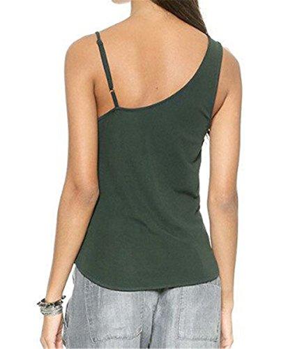 AILIENT Donna Sexy Fionda Top Semplice Senza Maniche Maglietta V-collo Spalle Scoperte Blusa Elegante Camicetta Bluse Puro Colore Green