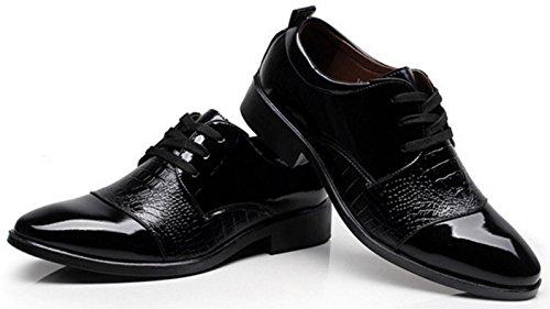 NSPX Abbigliamento Uomo Uomo Calzature Crocodile Motivo Pointed Pizzo scarpe Scarpe da sposa Oxford , 43 BLACK-43