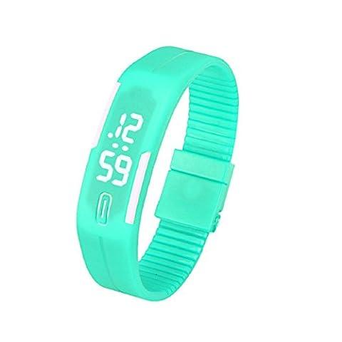 OverDose Damen Herren Gummi LED Uhr Datum Sports Armband Digital Armbanduhr (E-Minzgrün)