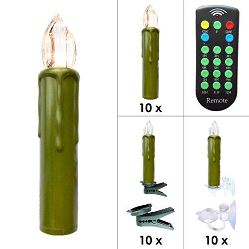 Kabellose LED Weihnachtskerzen Christbaumkerzen Deluxe mit Fernbedienung, Dimmer & Timer (1 bis 12 Std) - viele Farben wählbar - Weihnachtsbaumbeleuchtung (Grün 10er Set) -