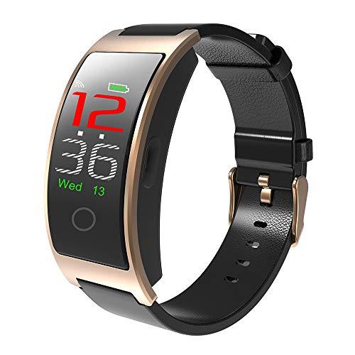 Gold-farb-bildschirm (SMBYQ Fitness-Tracker mit Farb-Bildschirm Blutdruck Puls Blut Sauerstoff-Erkennung Smart-Armband, Lederband Bluetooth wasserdichte Sportuhr,Gold)