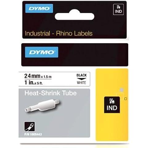 DYMO RHINO Tubo de encogimiento del calor  24mm x 1,5m, Negro sobre Blanco