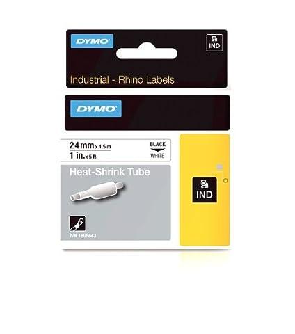 Dymo 1805443 Rhino Schrumpfschlauch-Etiketten (für die Industrie, 24 mm x 1,5 m, Selbstklebend) schwarze Schrift auf weiß