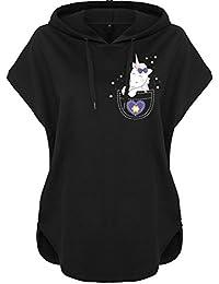Kawaii Sudadera con capucha sudadera con capucha Mujeres Mujer Camisa con capucha Bolsa de cuerno Unicornio Unicornio cutie Bolsillo (Motiv 55)