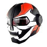 Moto Flip up Casque Iron Man Transformers Full Face Casque D. O. T certifié personnalité Harley Casque,MatteC,L