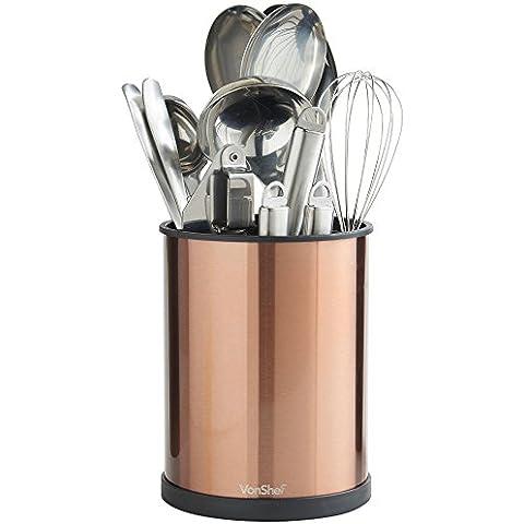 VonShef Porta utensili da cucina girevole color rame da 18cm – Acciaio inox