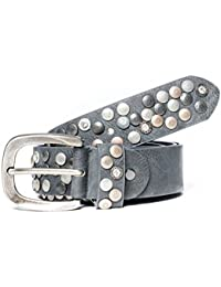 Kandharis Gürtel Nietengürtel im Vintage Optik Nieten Strass kürzbar LG-N6