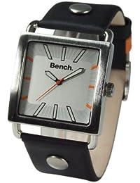 Bench BC0021SL - Reloj analógico de caballero de cuarzo con correa de piel negra - sumergible a 30 metros
