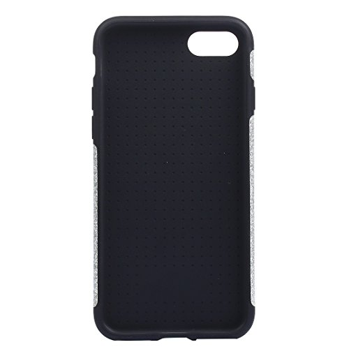 Für iPhone 7 Plus Soft TPU Schutzmaßnahmen Glitzer Puder PU Paste Haut Fall DEXING ( Color : Silver ) Silver