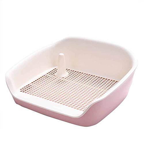 Hundetoilette Heimtierbedarf Halb geschlossen Spritzwassergeschützte, zweischichtige, ausziehbare Netz-Trainingsmatte mit Schubladen Anti-Spritzwasser-Klo WC-Ablage Große Trompete Urinal-Bettpfanne,S