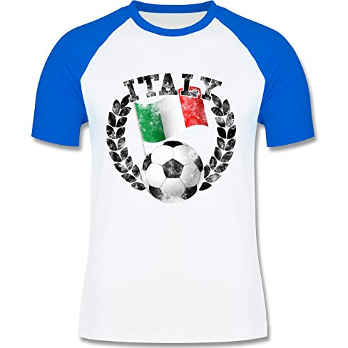 EM 2016 - Frankreich - Italy Flagge & Fußball Vintage - zweifarbiges Baseballshirt für Männer Weiß/Royalblau