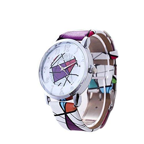 vovotrade moda Lattice patron cuero banda de cuarzo analogico Vogue watches,Blanco