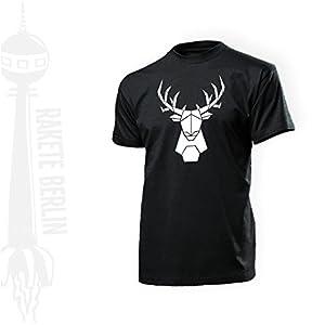 Herren T-Shirt 'Hirsch Origami' Baumwolle