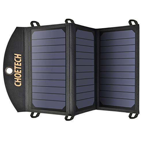 CHOETECH Cargador Solar Portatil 19W Panel Solar Portatil Plegable Impermeable Doble Puertos USB de Cargador Panel Solar Batería Placa Plegable para iPhone, iPad,Macbook,Samsung,LG,Moto etc