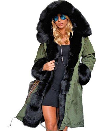 URqueen Women's Long Faux Fur Hooded Quilted Parka Coat Green M - Coats & Clark Knit Cro