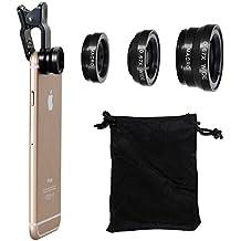 Vi-GO,Lenti Smartphone,obiettivo mobile, 3 in 1 Kit obiettivo per fotocamera,2in1 Micro lente+lente super-grandangolare, Universal può applicare a IPhone,SUMSUNG Smart Phone e così via.