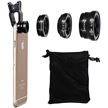 Fisheye Lens Instant Camera,Vi-GO,Mobile Lens,3 in 1 Mobile Phone Camera Lens Kit, 2 in 1 Micro Lens + Super Wide Angle Lens,Universal Can Apply To IPhone, SUMSUNG Smart-Phone and etc.