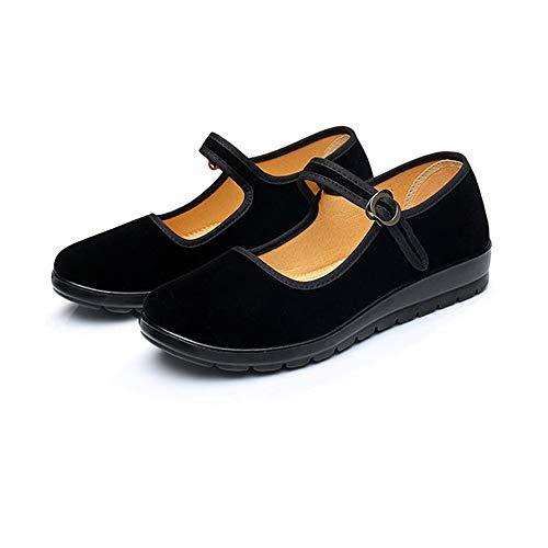 4135c96d39e61 ZBW Black Cotton Mary Jane Dance Flat Old Beijing Cloth Walking Shoes for  Women (US 9=EUR 40)
