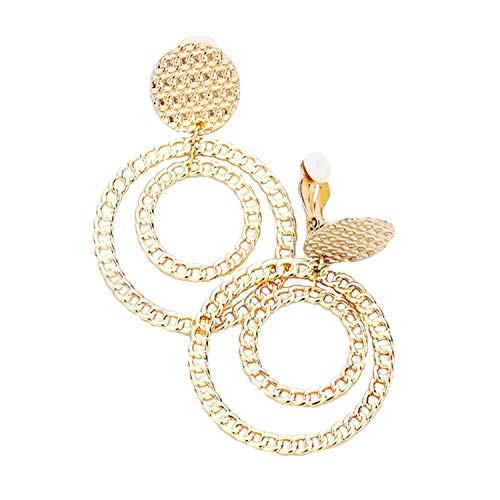 Schmuckanthony Hoernel. Trendige Leichte Lange Ohrclips Creolen Kreolen Clip On Clips Ohrringe Metall Glänzend Gold Ketten Motiv 6,30 cm Lang