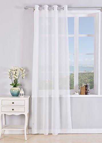 PimPan Tex Cortina translucida con 8 ollao (1 Unidad X 140x260) para salón, habitación y Dormitorio. Modelo Clara.
