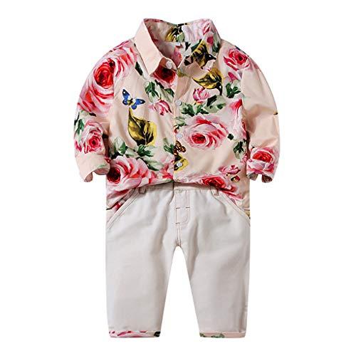 Isshop Baby Kostüm Kleinkind Baby Kinder Jungen Gentlement Floral T-Shirt Feste Hosen Casual Set Kleidung Casual Comfort Set für Jungen und Mädchen -