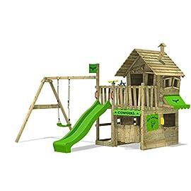 FATMOOSE Spielhaus CountryCow Maxi XXL Spielturm Baumhaus mit Rutsche, Schaukel, Sandkasten und Veranda