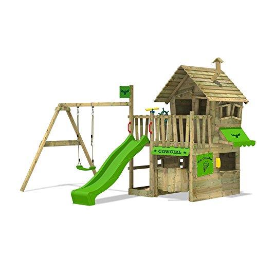 fatmoose countrycow FATMOOSE Spielhaus CountryCow Maxi XXL Spielturm Baumhaus mit Rutsche, Schaukel, Sandkasten und Veranda