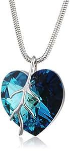 Eine Silberkette aus 925 Silber mit original Swarovski® Elements Herz Anhänger, dunkelblau, 18 mm, mit Schmucketui, ideal als Geschenk für Frau oder Freundin, Geburtstagsgeschenk