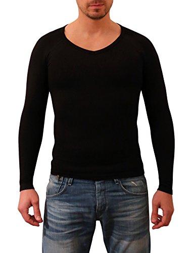 SODACODA Herren Figurformendes Kompressions Unterhemd - T-Shirt mit V Neck langarm (S-XL) Schwarz