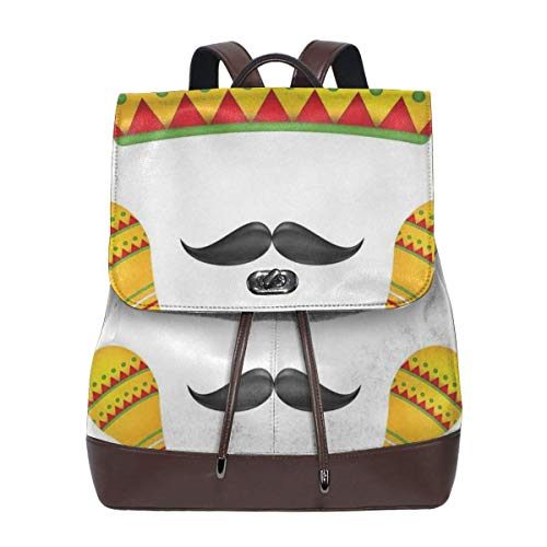 Women's Leather Backpack,Famous Centerpiece Icons Sombrero Moustache Rumba Shaker Mesoamerican Image,School Travel Girls Ladies Rucksack Animal Shaker