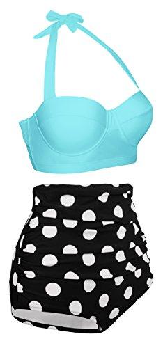 Angerella Damen Retro Stil Polka-Punkt mit Hoher Taille Badeanzug Bikini Set Hellblau