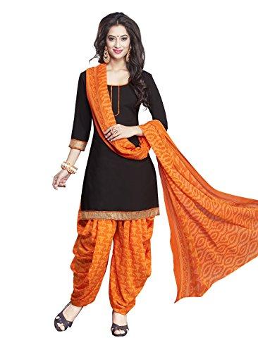 Parihar Black Synthetic Printed Unstitched Salwar Suit Dress Material