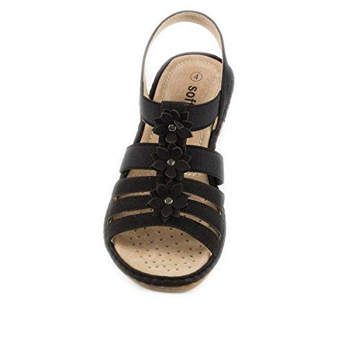 Softlites Confort-Sandale-Noir avec fleurs Noir - noir