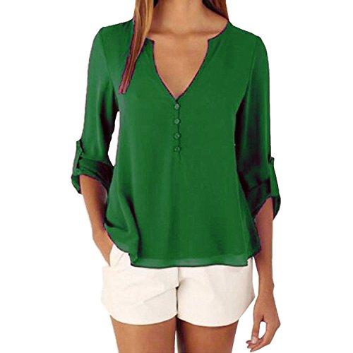 ASCHOEN Damen Casual Bluse Hemd Oberteil Top T-shirt unregelmäßig Saum Grün