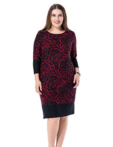 Chicwe Damen Kleid Große Größen Cashmere Touch Bedruckt 48, Rot (Bootcut-kleid)