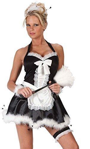 Kostüme Damen Rocky Erwachsene Sexy (Damen 4 Stück Sexy Französisches Dienstmädchen Rocky Horror + Staubwedel Kostüm Kleid Outfit - Schwarz/weiß, Schwarz/weiß,)